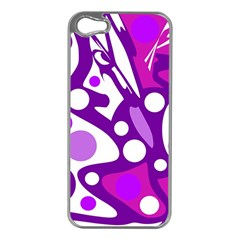 Purple and white decor Apple iPhone 5 Case (Silver)