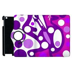 Purple and white decor Apple iPad 3/4 Flip 360 Case