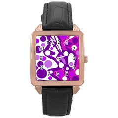 Purple and white decor Rose Gold Leather Watch