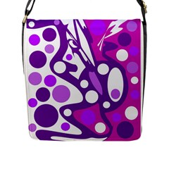 Purple and white decor Flap Messenger Bag (L)