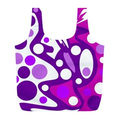 Purple and white decor Full Print Recycle Bags (L)