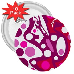Magenta and white decor 3  Buttons (10 pack)