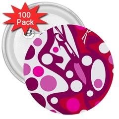 Magenta and white decor 3  Buttons (100 pack)