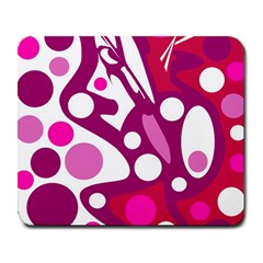 Magenta and white decor Large Mousepads