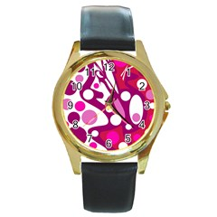 Magenta and white decor Round Gold Metal Watch