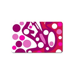 Magenta and white decor Magnet (Name Card)