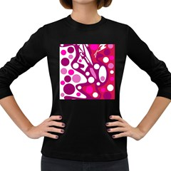 Magenta and white decor Women s Long Sleeve Dark T-Shirts