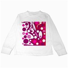 Magenta and white decor Kids Long Sleeve T-Shirts