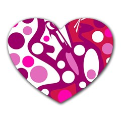 Magenta and white decor Heart Mousepads