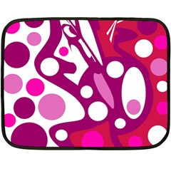 Magenta and white decor Double Sided Fleece Blanket (Mini)