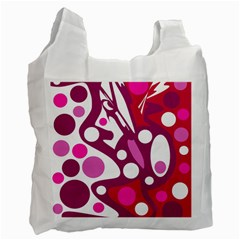 Magenta and white decor Recycle Bag (Two Side)