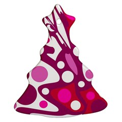 Magenta and white decor Christmas Tree Ornament (2 Sides)