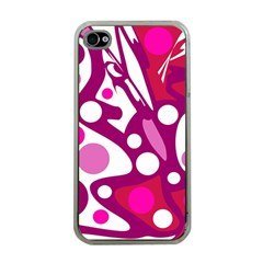 Magenta and white decor Apple iPhone 4 Case (Clear)