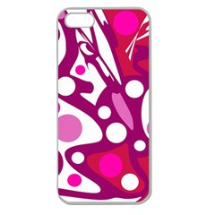 Magenta and white decor Apple Seamless iPhone 5 Case (Clear)