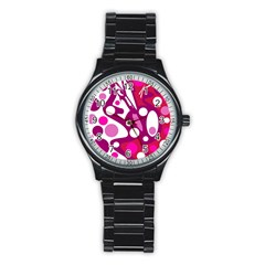 Magenta and white decor Stainless Steel Round Watch
