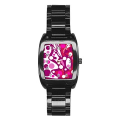 Magenta and white decor Stainless Steel Barrel Watch