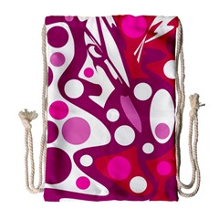 Magenta and white decor Drawstring Bag (Large)