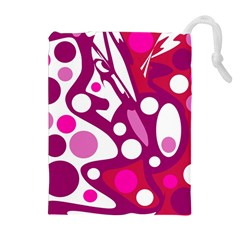 Magenta and white decor Drawstring Pouches (Extra Large)