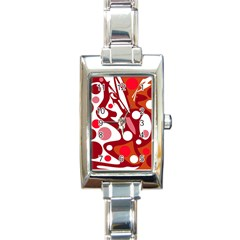 Red And White Decor Rectangle Italian Charm Watch
