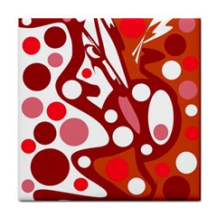 Red and white decor Tile Coasters