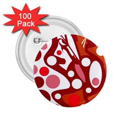 Red and white decor 2.25  Buttons (100 pack)