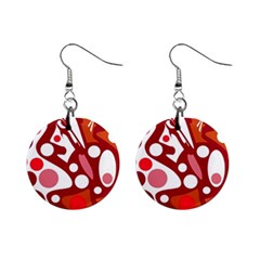 Red and white decor Mini Button Earrings