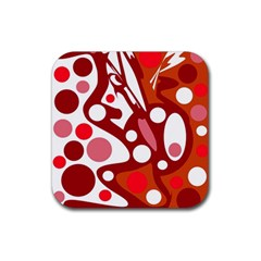 Red and white decor Rubber Square Coaster (4 pack)