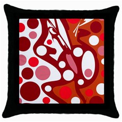 Red and white decor Throw Pillow Case (Black)