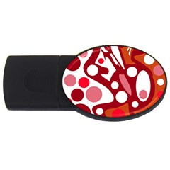 Red and white decor USB Flash Drive Oval (1 GB)