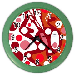 Red and white decor Color Wall Clocks