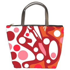 Red and white decor Bucket Bags