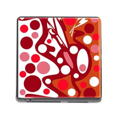 Red and white decor Memory Card Reader (Square)