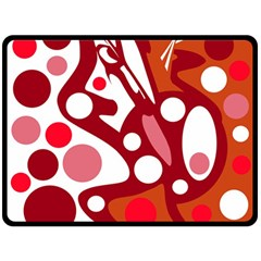Red and white decor Fleece Blanket (Large)