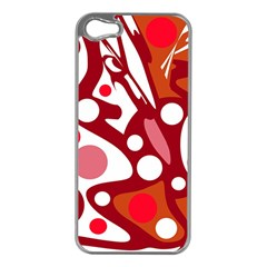 Red and white decor Apple iPhone 5 Case (Silver)