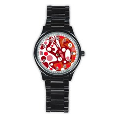 Red and white decor Stainless Steel Round Watch