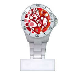 Red and white decor Plastic Nurses Watch