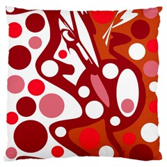 Red and white decor Large Flano Cushion Case (Two Sides)