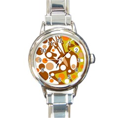 Orange and white decor Round Italian Charm Watch