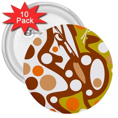 Orange and white decor 3  Buttons (10 pack)