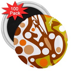 Orange and white decor 3  Magnets (100 pack)