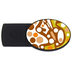 Orange and white decor USB Flash Drive Oval (1 GB)