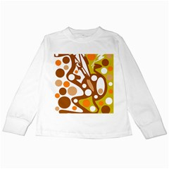 Orange and white decor Kids Long Sleeve T-Shirts