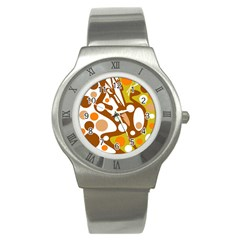 Orange and white decor Stainless Steel Watch