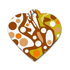 Orange and white decor Dog Tag Heart (Two Sides)