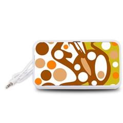 Orange and white decor Portable Speaker (White)