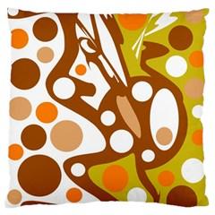 Orange and white decor Large Flano Cushion Case (One Side)