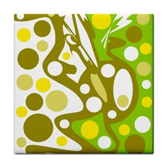 Green and yellow decor Tile Coasters