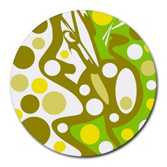 Green and yellow decor Round Mousepads