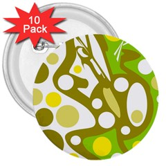 Green and yellow decor 3  Buttons (10 pack)