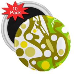 Green and yellow decor 3  Magnets (10 pack)